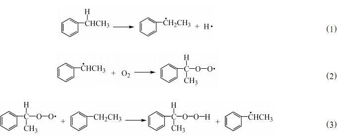 绿色氧化合成苯乙酮的研究 宋华  王园园  刘思雨  张金召 (大庆石油学院化学化工学院 大庆  163318) 摘要   研究了以氧气为氧化剂、液相氧化乙苯合成苯乙酮反应的各种影响因素 ,在优化的反应条件(冰乙酸20mL、乙苯5mL、醋酸钴用量为乙苯的412 %(物质的量) 、 BrP Co = 215 (物质的量) 、氧气流速为 100mLP min、常压、温度80和反应时间4h)下 ,乙苯转化率达到99194 % ,苯乙酮收率达到98149 %。 关键词   乙苯  苯乙酮  液相氧化  分子氧 S